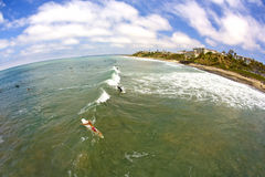 Wide Angle San Clemente Surfing Stock Images