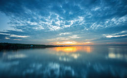 Wide angle scene of blue sky before sunrise Stock Photography