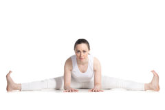 Wide-Angle Seated Forward Bend pose Stock Photos