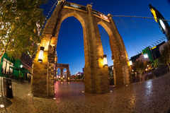 Wide angle shoot of Brooklyn bridge in Las Vegas Stock Images