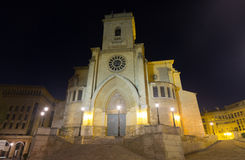 Wide angle shot of Albacete Cathedral. In night.  Spain Stock Image