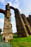 Wide angle shot of ancient  roman aqueduct. Merida, Spain Royalty Free Stock Photography