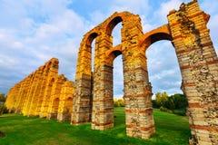 Wide angle shot of antique  roman aqueduct Stock Photo