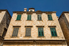 A wide angle shot of the architecture surrounding Stradun street in Dubrovnik Stock Photography