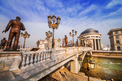 A wide angle shot of the art bridge in Skopje in the early morning light Royalty Free Stock Images