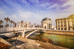 A wide angle shot of the art bridge in Skopje in the early morning light Stock Photo