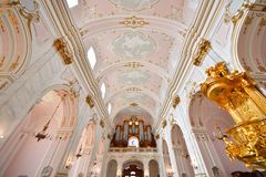 Assumption Cathedral Interior, Kalocsa, Hungary. Wide angle shot of the baroque styled Assumption Cathedral interior, Kalocsa, Hungary Stock Image
