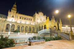 Wide angle shot of central building at Plaza de Espana at Sevill Stock Images