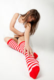 Wide Angle Shot of Cute Girl in Knee Socks Stock Photography