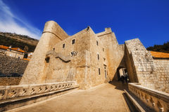 A wide angle shot of the Dubrovnik Old Town walls near Ploce gate Royalty Free Stock Image