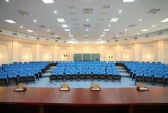 Wide angle shot of empty conference room. Wide angle shot of an empty conference room Royalty Free Stock Photos