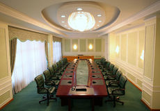Wide angle shot of empty meeting conference room. With green chairs Royalty Free Stock Photography