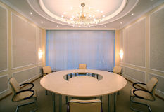 Wide angle shot of empty meeting conference room. With round table Stock Photography