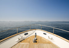 Wide angle shot of front of the yacht in summer time Stock Image