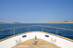 Wide angle shot of front of the yacht in summer time Stock Photo