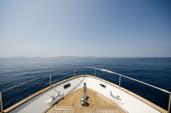 Wide angle shot of front of the yacht in summer time Royalty Free Stock Photo
