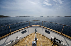 Wide angle shot of front of the yacht in summer time Stock Photography
