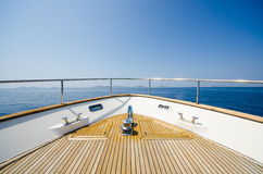 Wide angle shot of front of the yacht in summer time Royalty Free Stock Image