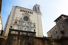 Wide angle shot of Girona  Gothic Cathedral Stock Photo