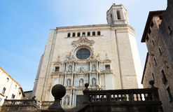 Wide angle shot of Girona  Gothic Cathedral Royalty Free Stock Photo