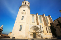 Wide angle shot of  Gothic Cathedral at Girona Royalty Free Stock Photo