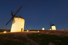 Wide angle shot of group of windmills in night Stock Photography