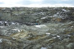 Excavation Site. Wide angle shot of industrial mineral mining site, dirt tracks and excavation works in winter, copy space Royalty Free Stock Image