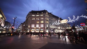 Wide angle shot of London Oxford Circus street view in the evening stock footage