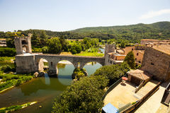 Wide angle shot of Medieval bridge Stock Image