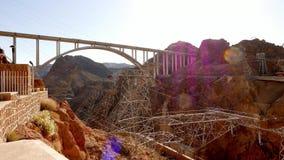 Wide angle shot of Mike O'Callaghan-Pat Tillman Memorial Bridge at Hoover Dam in 4k stock video