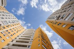 Wide angle shot of new residential buildings Stock Photo