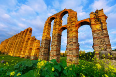 Wide angle shot of old roman aqueduct Royalty Free Stock Images