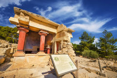 A wide angle shot of the partially restored ruins of Knossos Palace in Heraklion Royalty Free Stock Image