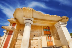 A wide angle shot of the partially restored ruins of Knossos Palace in Heraklion Royalty Free Stock Photo
