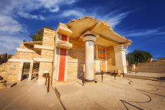 A wide angle shot of the partially restored ruins of Knossos Palace in Heraklion Stock Images