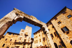 A wide angle shot of Piazza Della Cisterna in San Gimignano, a world heritage site in Tuscany Royalty Free Stock Photos
