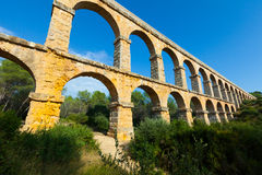 Wide angle shot of Ponte del Diable in Tarragona Stock Images