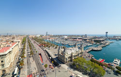 Wide angle shot of Port Vell Stock Photos