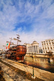 A wide angle shot of the riverside Galleon and Archaeological Museum of Macedonia in Skopje Royalty Free Stock Images