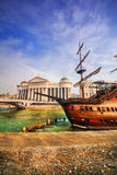 A wide angle shot of the riverside Galleon and Archaeological Museum of Macedonia in Skopje Stock Photos