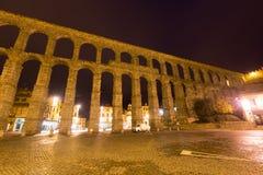 Wide angle shot of   Roman Aqueduct in  Segovia, Stock Image