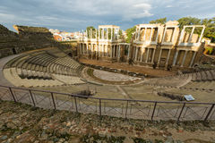 Wide angle shot of Roman Theatre. In  morning. Merida, Spain Royalty Free Stock Image
