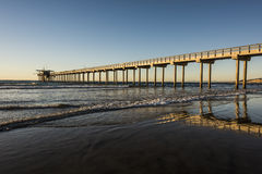 Wide angle shot of Scripps Pier during sunset in La Jolla, San Diego, California Stock Photography