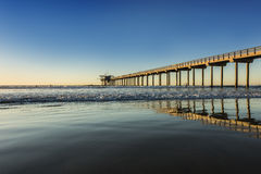 Wide angle shot of Scripps Pier during sunset in La Jolla, San Diego, California Stock Images