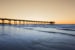 Wide angle shot of Scripps Pier during sunset in La Jolla, San Diego, California Royalty Free Stock Photos