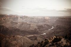 A wide angle shot of the Grand Canyon in Arizona. This wide angle shot shows off the famous Grand Canyon and the Colorado river as it winds through the valley stock images