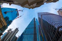 Wide angle shot of skyscrapers in Central London Stock Images