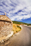 A wide angle shot of a small church on Zakynthos island Stock Photos