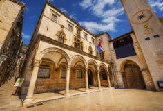 A wide angle shot of Sponza Palace in Dubrovnik, April 14, 2015 Royalty Free Stock Photography