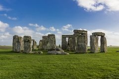 Ancient monument of Stonehenge on a sunny day. Wide angle shot of Stonehenge with no people and blue sky royalty free stock photo